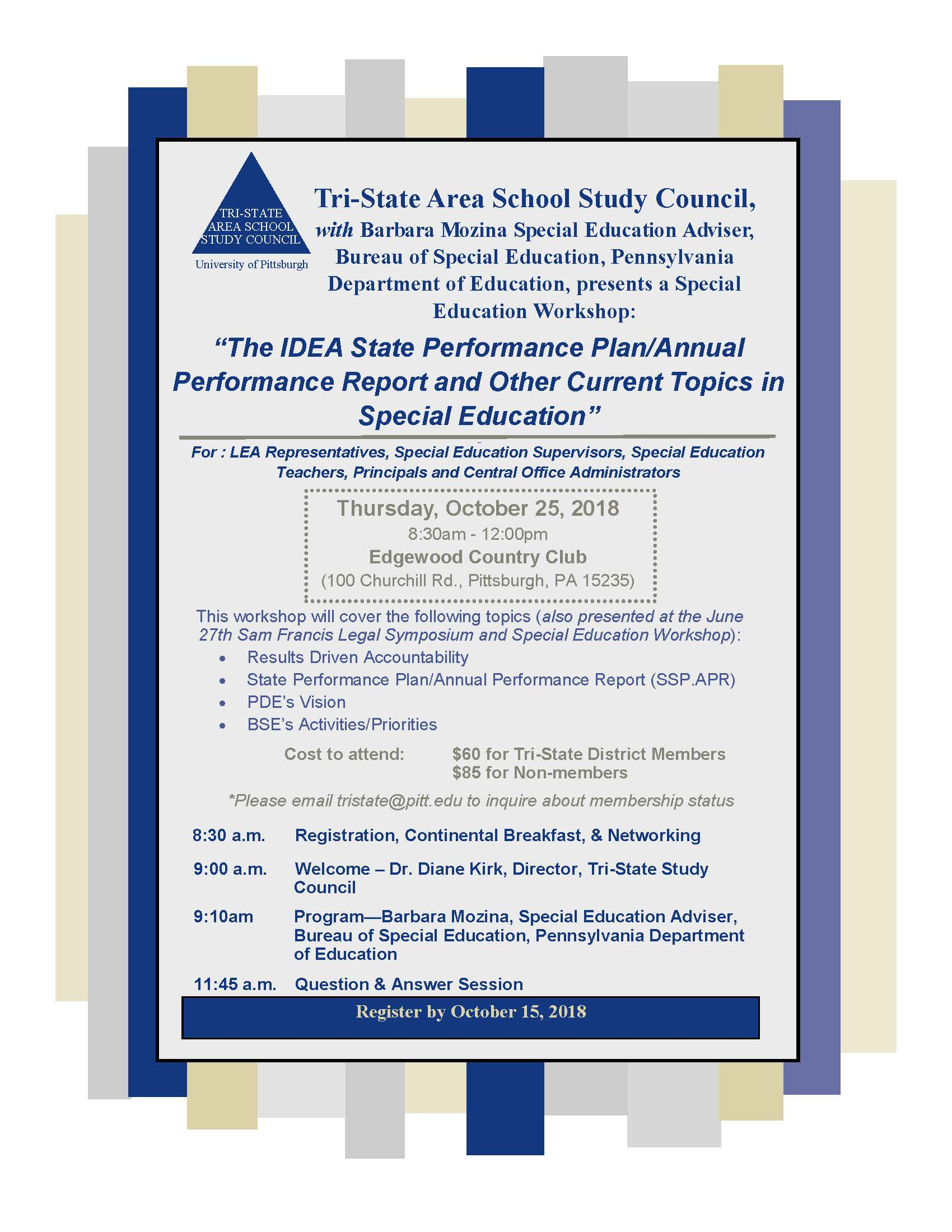 2018 Special Education Workshop – Tri-State Area School
